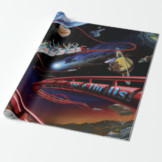 Space Thrills Roller Coaster Gift Wrap Paper