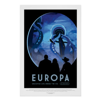Space Tourism Advert - Visit Jupiter Moon Europa Poster