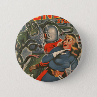 Space Travelers Attacked by Tentacle monster 6 Cm Round Badge
