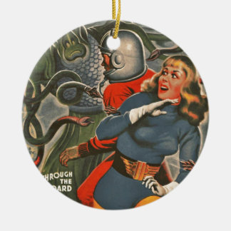 Space Travelers Attacked by Tentacle monster Ceramic Ornament