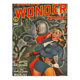 Space Travelers Attacked by Tentacle monster Postcard