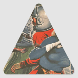 Space Travelers Attacked by Tentacle monster Triangle Sticker
