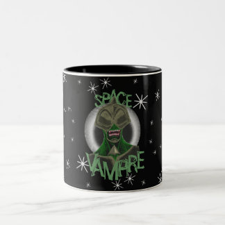 Space Vampire Green Two-Tone Coffee Mug