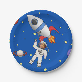 Space Walk Astronaut and Rocketship Photo Template 7 Inch Paper Plate