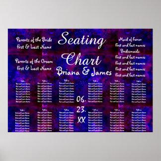 Space Wedding Seating Chart Bride Groom Bridal Poster