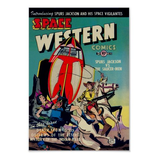 'Space Western' from Golden Age Comic Art Print