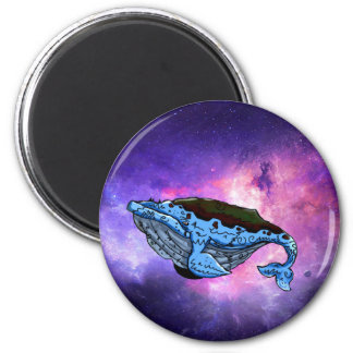 space whale 6 cm round magnet