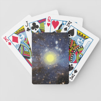 Space with digital sunshine bicycle playing cards