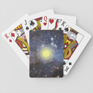 Space with digital sunshine playing cards