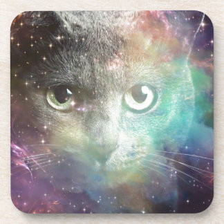 SPACECAT GALAXY CAT BEVERAGE COASTERS