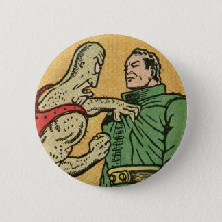 Spacehawk vs. An Alien by Basil Wolverton 6 Cm Round Badge