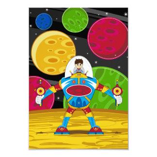 Spaceman & Mecha Robot on Planet Surface 9 Cm X 13 Cm Invitation Card