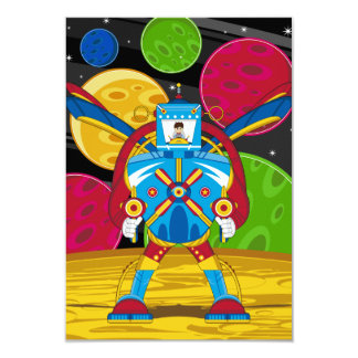 Spacemen In Giant Mecha Robot 9 Cm X 13 Cm Invitation Card
