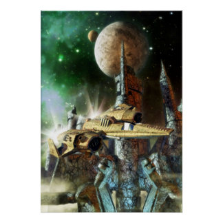 Spaceship and alien planet poster