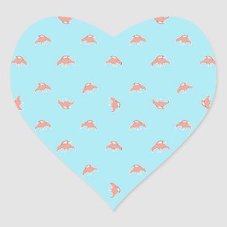 Spaceship Cartoon Pattern Drawing Heart Sticker