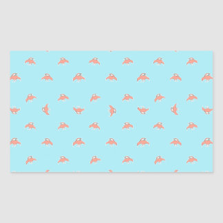 Spaceship Cartoon Pattern Drawing Rectangular Sticker