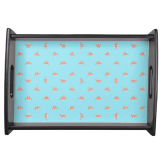 Spaceship Cartoon Pattern Drawing Serving Tray