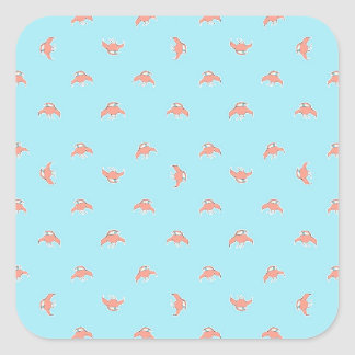 Spaceship Cartoon Pattern Drawing Square Sticker