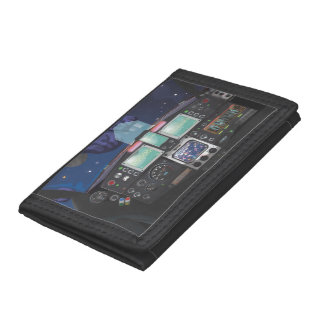 Spaceship Console Trifold Wallets