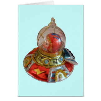 Spaceship Glass Christmas Ornament Card