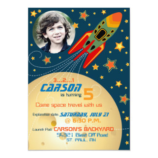 Spaceship Planets & Stars Photo Template Birthday Card