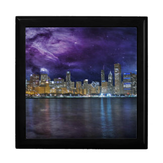 Spacey Chicago Skyline Large Square Gift Box