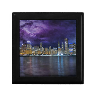 Spacey Chicago Skyline Small Square Gift Box