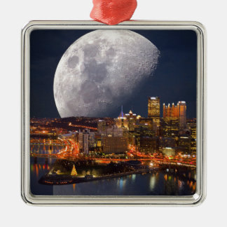 Spacey Pittsburgh Metal Ornament