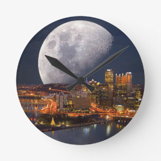 Spacey Pittsburgh Round Clock