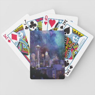 Spacey Seattle Bicycle Playing Cards
