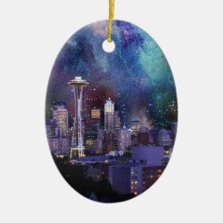 Spacey Seattle Ceramic Ornament