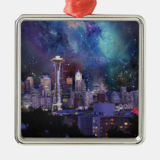 Spacey Seattle Metal Ornament