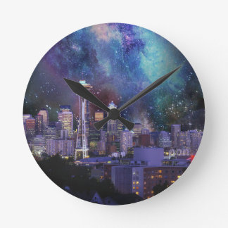 Spacey Seattle Round Clock