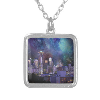 Spacey Seattle Silver Plated Necklace