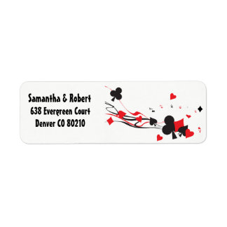 Spades Hearts Clubs Diamonds Cards red black white Return Address Label
