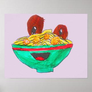 Spaghetti and meatballs funny cartoon art poster