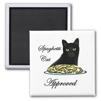 Spaghetti Cat Approved Square Magnet
