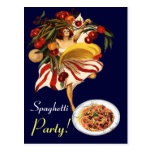 SPAGHETTI PARTY DANCE,ITALIAN KITCHEN AND TOMATOES POSTCARDS
