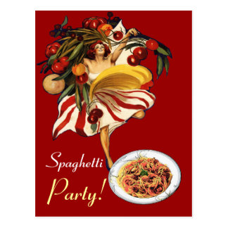 SPAGHETTI PARTY DANCE,ITALIAN KITCHEN AND TOMATOES POST CARDS