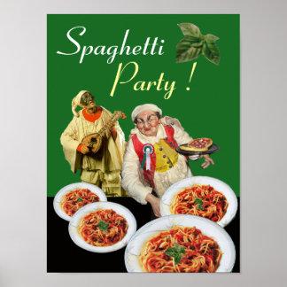 SPAGHETTI PARTY Italian Chef and Pulcinella Green Poster