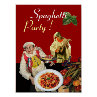 SPAGHETTI PARTY,Italian Kitchen,Chef,Pulcinella Poster