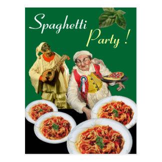 SPAGHETTI PARTY,Italian Kitchen Chef Recipe, Green Postcard