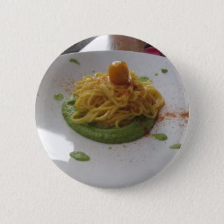 Spaghetti with bottarga on asparagus sauce 6 cm round badge