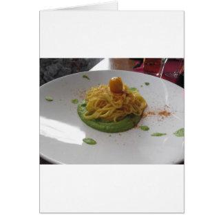 Spaghetti with bottarga on asparagus sauce card