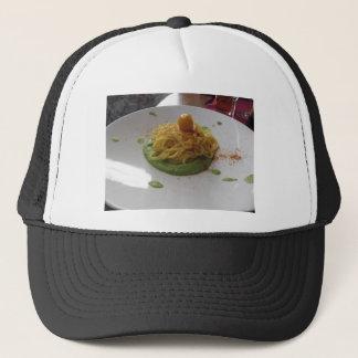 Spaghetti with bottarga on asparagus sauce trucker hat