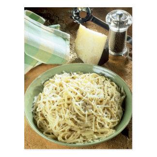 Spaghetti with Pecorino romano and black Postcard