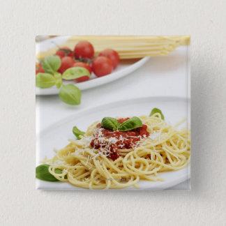 Spaghetti with tomato sauce and basil 15 cm square badge