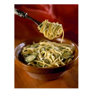Spaghetti with zucchinis and lemon For use in Postcard
