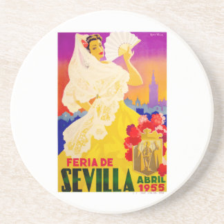 Spain 1955 Seville April Fair Poster Coaster