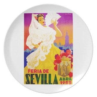 Spain 1955 Seville April Fair Poster Dinner Plate